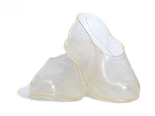 Transparent galoshes on valenki adults