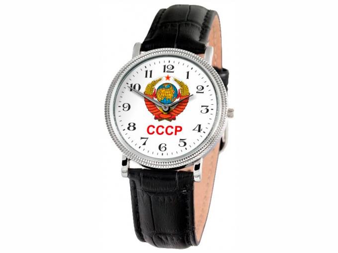 Uhr Slava Silber mit dem Wappen der UdSSR