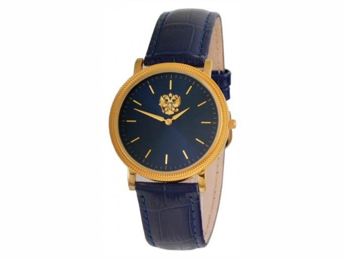 Uhr Slava schwarz mit Goldener Wappen Russland