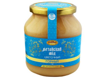 """La miel de altai """"MONTAÑA"""" en un tarro de cristal 1000gr"""